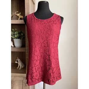 Talbots Maroon Lace Overlay Knit Sleeveless Top L